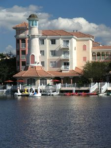 Free Vacation Resort Bldgs Lighthouse & Lake 2 Stock Photo - 3775030