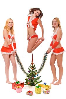 Free Lovely Looking Santa Helper Girls Stock Images - 3775334