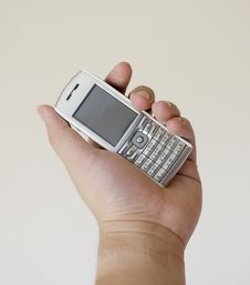 Free Mobile Phone On Left Hand Stock Image - 3776111