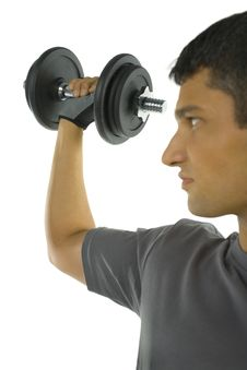 Free Young Man Holding Dumbbell Stock Images - 3776614