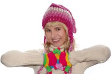 Free Smiling Blond Girl In Cap Royalty Free Stock Photography - 3777037