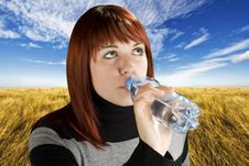 Free Redhead Girl Drinking Water Stock Photo - 3777210