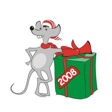 Free Icon Of Grey Mouse With Present. Royalty Free Stock Images - 3778419
