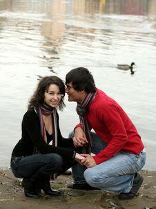 Free Happy Couple Near The River Royalty Free Stock Photos - 3778928
