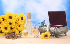 Free Jewelry And Perfume With Flowers Stock Photo - 3778990