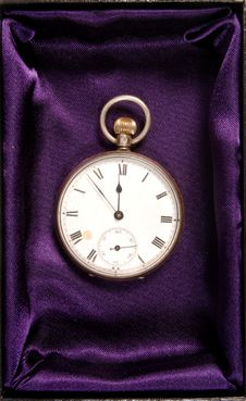 Pocket Watch In Gift Box Stock Photo