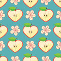 Free Heart Of Apple And Flowers In Seamless Pattern Royalty Free Stock Image - 37712546