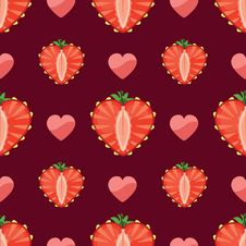 Free Heart Of Strawberry And Hearts In Seamless Pattern Royalty Free Stock Photo - 37712715