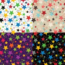 Stars Of Five Colors.Set  Seamless Ornament Or Bac Royalty Free Stock Images