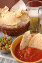 Free Chips, Salsa, Olives And Beer Royalty Free Stock Photos - 3780248