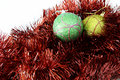 Free Two Bauble Balls In Red Tinsel Royalty Free Stock Image - 3786766