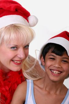 Little Santa Claus And Girl Stock Photos