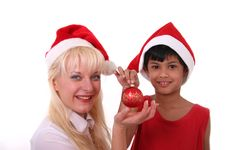 Little Santa Claus And Girl Stock Images