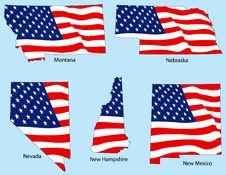 Free Five States With Flags Stock Image - 3780781