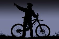 Free Mountain Biker Silhouette Royalty Free Stock Image - 3781746
