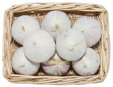 Free Garlic In Basket. Stock Images - 3783024