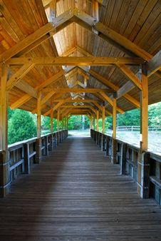 Wooden Covered Bridge Walkway Stock Photo