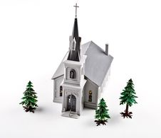 Free Plastic Church And Trees. Stock Photo - 3786760