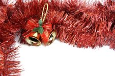 Free Christmas Bells In Red Tinsel Stock Image - 3786841