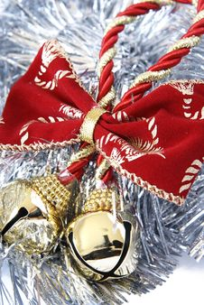 Free Christmas Bells In Silver Tinsel Stock Image - 3786931