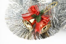 Free Christmas Bells In Silver Tinsel Stock Photography - 3786942