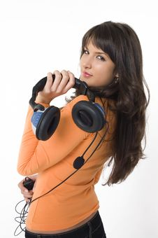 Free Girl With Headphones Royalty Free Stock Photo - 3787155