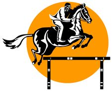 Free Show Jumping Woodcut Style Stock Image - 3787401