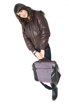 Free Girl With Laptop Bag Royalty Free Stock Photos - 3787798