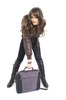 Free Girl With Laptop Bag Royalty Free Stock Image - 3787836
