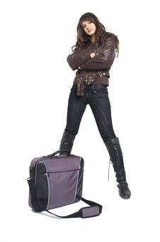 Free Girl With Laptop Bag Royalty Free Stock Images - 3787859