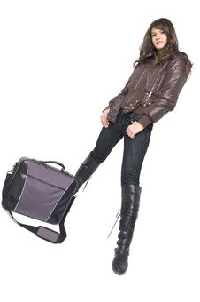 Free Girl With Laptop Bag Stock Image - 3787871