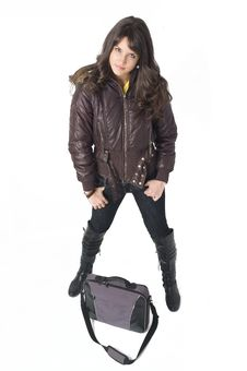 Free Girl With Laptop Bag Royalty Free Stock Photography - 3787877