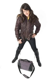 Free Girl With Laptop Bag Stock Photography - 3787882