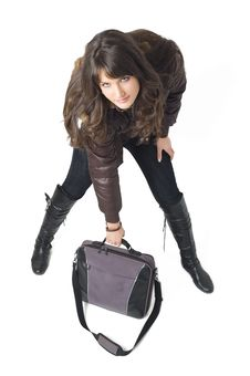 Free Girl With Laptop Bag Royalty Free Stock Photos - 3787888