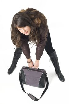 Free Girl With Laptop Bag Royalty Free Stock Photography - 3787917