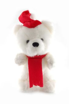 Free Teddy Bear With Santa Hat On A White Background Royalty Free Stock Image - 3788086