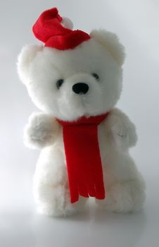 Free Teddy Bear With Santa Hat On A White Background Royalty Free Stock Photography - 3788087