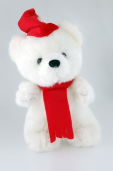 Free Teddy Bear With Santa Hat On A White Background Royalty Free Stock Images - 3788089