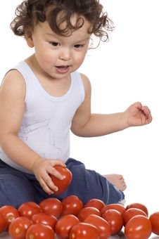 Free Child With Tomato. Stock Image - 3788361