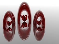 Free Three Red Rings And Hearts Royalty Free Stock Photography - 3788567