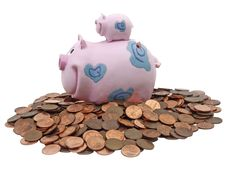 Free Piggy Bank And Pile Of US Cents Stock Images - 3788914