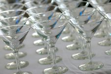 Free Rows Of Martini Glasses On A White Cloth Stock Photo - 3789950