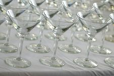 Free Rows Of Martini Glasses On A White Cloth Royalty Free Stock Photo - 3789955