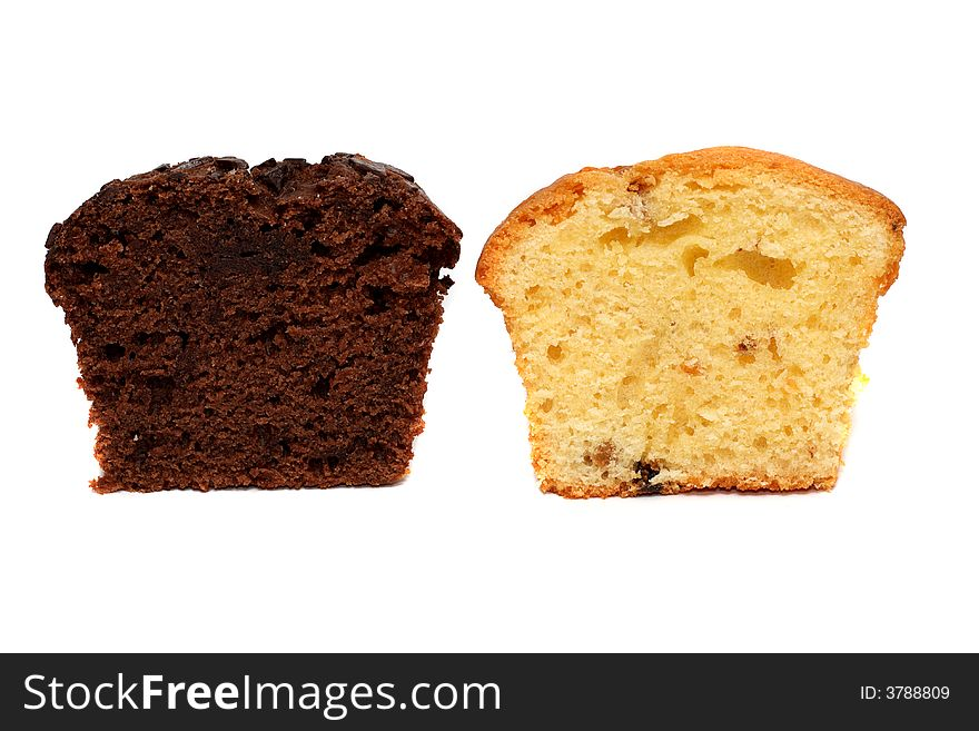 Two pieces of muffins