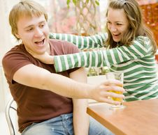 Free Happy Pair In A Cafe Stock Photography - 3790402