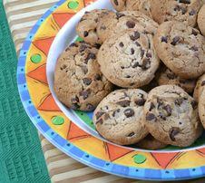 Free Chocolate Chip Cookies On A Plate Stock Photo - 3790450