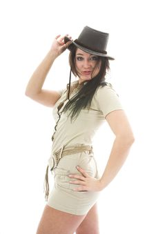 Free Beautiful Brunette In Stetson Stock Photography - 3791052
