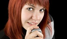 Free Girl Singing On Microphone Stock Images - 3791894