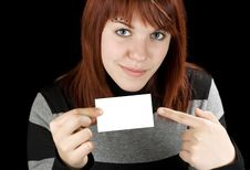 Free Girl Pointing At A Blank Business Card Stock Image - 3792781