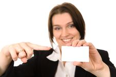 Free Businesswoman Closeup Presenting Her Business Card Royalty Free Stock Images - 3794199